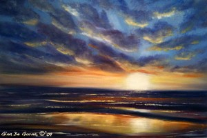 Indigo sunset original oil painting, seascape  by Gina De Gorna
