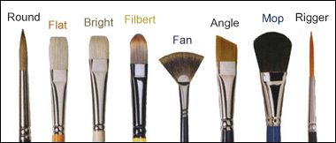 Different types of brushes in oil painting for Different types of paint for art