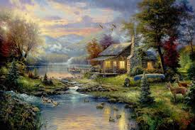Thomas Kinkade Original landscape oil painting ( Natures Paradise ) Art print reproduction on canvas wall decor  Photo credit: www.aliexpress.com