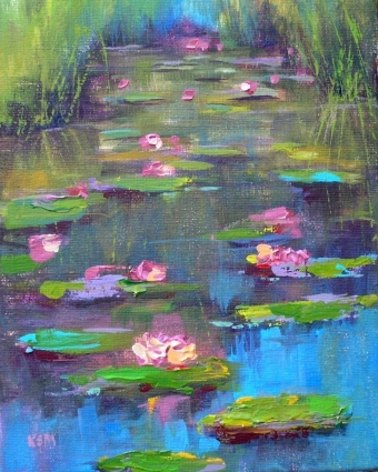 Water Lily Acrylic Painting By Karen Margulis